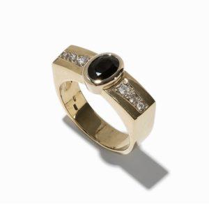 Bandring mit schwarzem Saphir , Diamanten, 14K Gelbgold-5